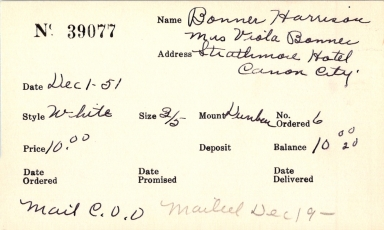 Index card for Harrison Bonner and Viola Bonner