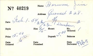 Index card for Jim Borman