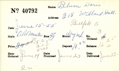 Index card for Doris Blum