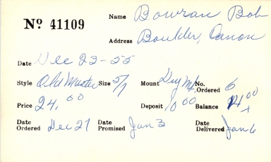 Index card for Bob Bowran