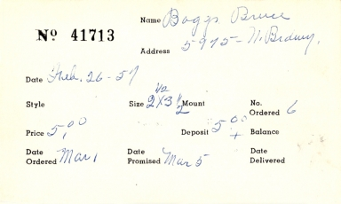 Index card for Bruce Boggs
