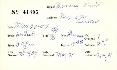 Index card for Emil Bonnes