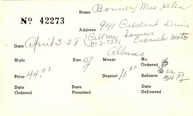 Index card for Helen Bonner