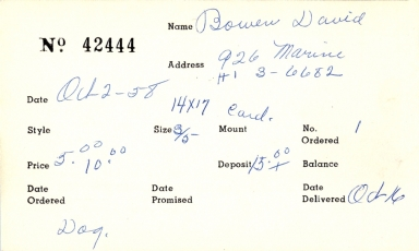 Index card for David Bowen