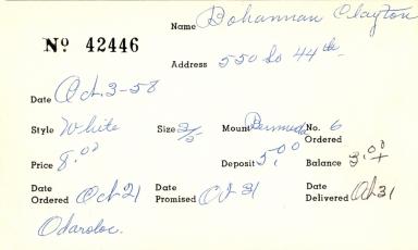 Index card for Clayton Bohannan