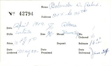 Index card for Robert Bolander