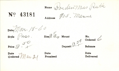 Index card for Ruth Borden