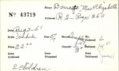 Index card for Elizabeth Borrego
