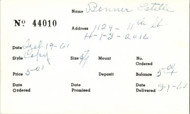 Index card for Estelle Benner