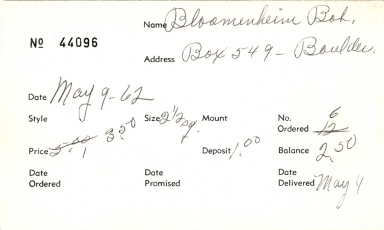 Index card for Bob Bloomenheim