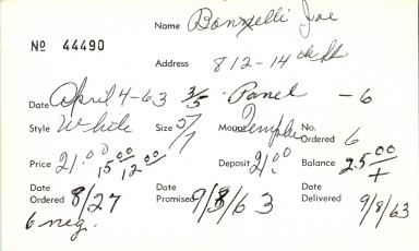 Index card for Jae Bonelli