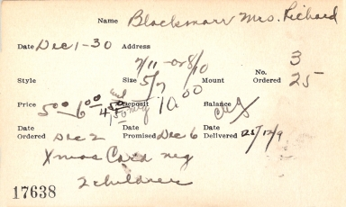 Index card for Mrs. Richard Blackmarr