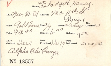 Index card for Nancy Blodgett