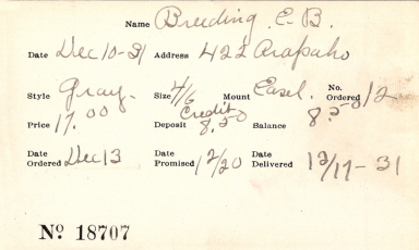 Index card for E. B. Breeding