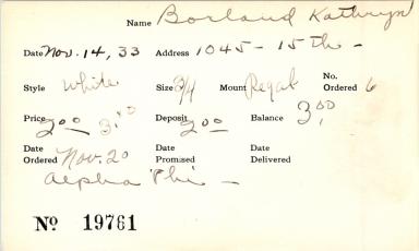 Index card for Kathryn Borland