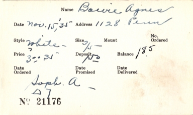 Index card for Agnes Bowie