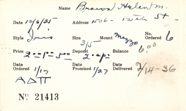 Index card for Helen M. Brown