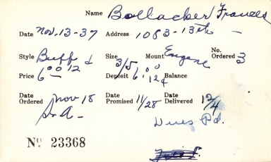 Index card for Frances Bollacker