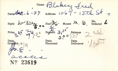 Index card for Fred Blakey