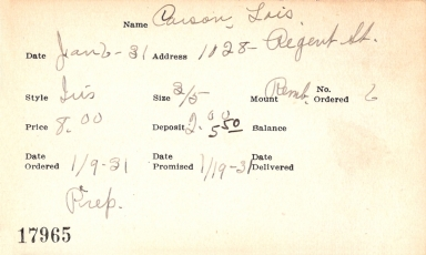 Index card for Lois Carson