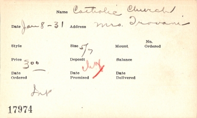 Index card for Catholic Church
