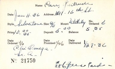 Index card for Gertrude Carr