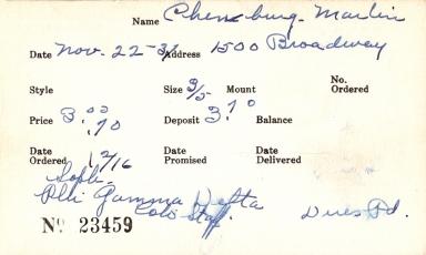 Index card for Marlin Chewburg