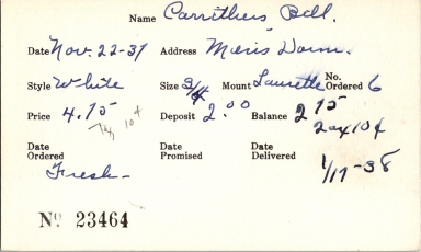 Index card for Bill Carrithers