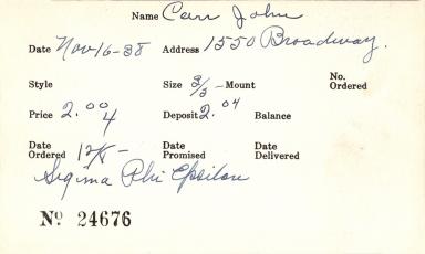 Index card for John Carr