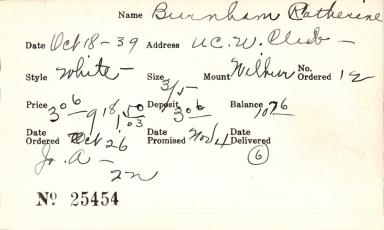Index card for Catherine Burnham