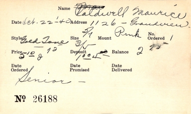 Index card for Maurice Caldwell
