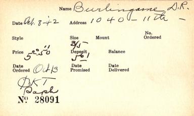 Index card for D. R. Burlingame