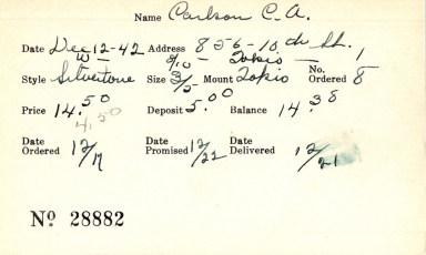 Index card for C. A. Carlson