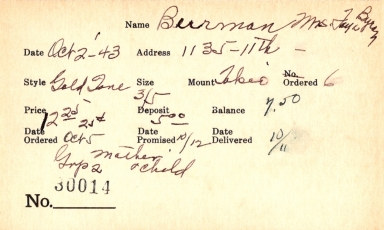 Index card for Faye Byron Burman