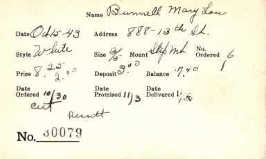 Index card for Mary Lou Bunnell