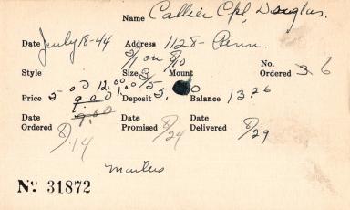Index card for Douglas Callier