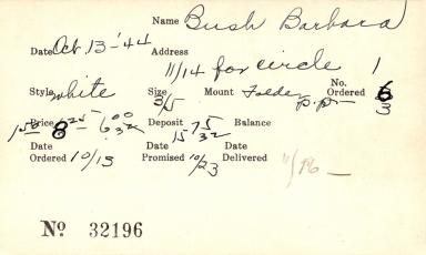Index card for Barbara Bush