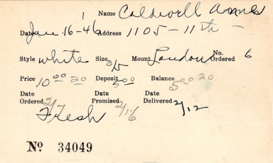 Index card for Anne Caldwell