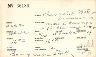 Index card for Chevrolet Motor Division banquet