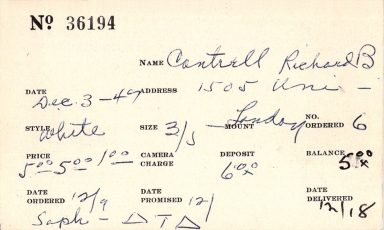 Index card for Richard B. Cantrell