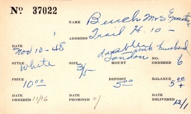 Index card for Ernestine Burch