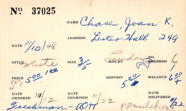Index card for Joan K. Chace
