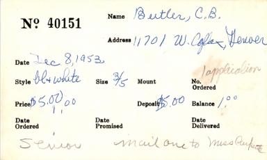 Index card for C. B. Butler
