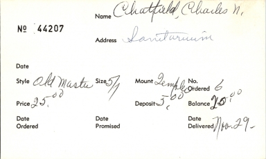 Index card for Charles N. Chatfield