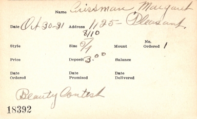 Index card for Margaret Crissman