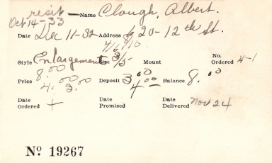 Index card for Albert Clough