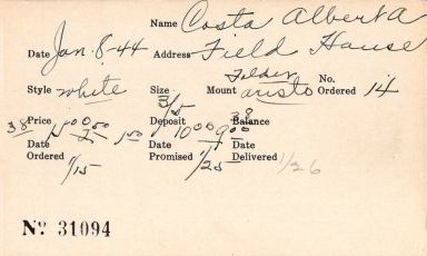 Index card for Albert A. Costa