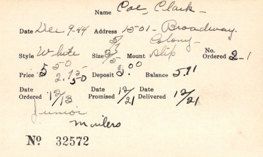 Index card for Clark Coe