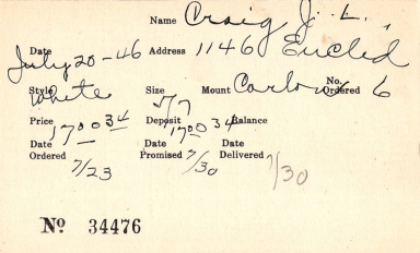 Index card for J. L. Craig