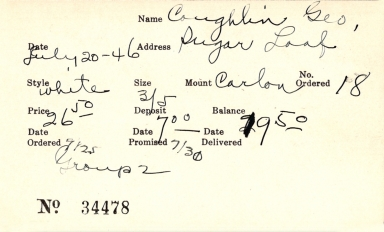 Index card for George Coughlin